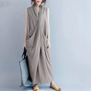 Dresses & Skirts - Asymmetrical V Neck maxi dress in gray